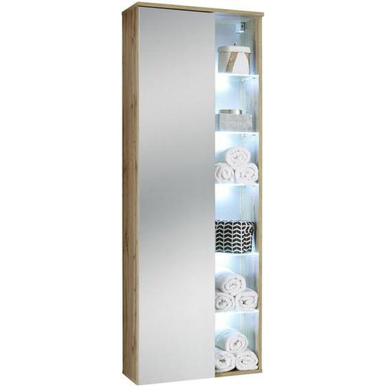 Livetastic Hochschrank , Eiche , Glas, Holzwerkstoff , Nachbildung , 10 Fächer , 55x160x30 cm