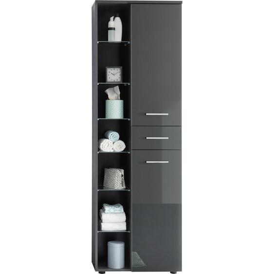 Livetastic Hochschrank Grau , Glas, Holzwerkstoff , 10 Fächer , 1 Schubladen , 60x192x32 cm