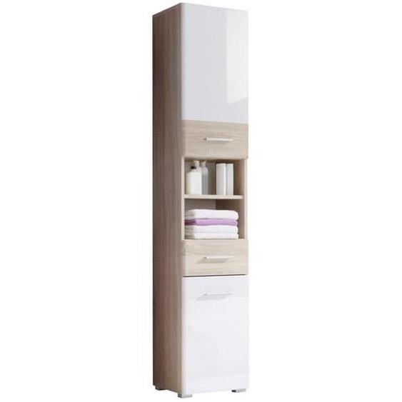 Livetastic Hochschrank Weiß , Weiß, Beige , Holzwerkstoff , 3 Fächer , 1 Schubladen , 38x190x31 cm