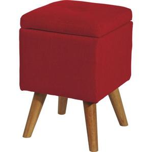 Livetastic Hocker Mikrofaser Rot , Textil , 31x44x31 cm