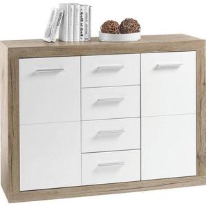 Boxxx: Kommode, Holzwerkstoff, Eiche, Weiß, B/H/T 117 88 37