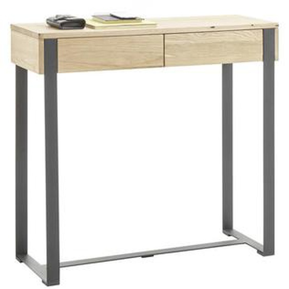 Livetastic Konsole Eiche massiv Schwarz, Braun , Holz , 2 Schubladen , 100x93x35 cm