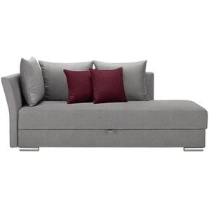 Livetastic Liege Webstoff Rot, Grau , Textil , Uni , 4-Sitzer , 220x93x100 cm