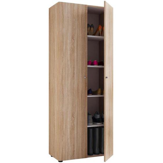 Livetastic Mehrzweckschrank Braun , Holzwerkstoff , 4 Fächer , 70x178x40 cm