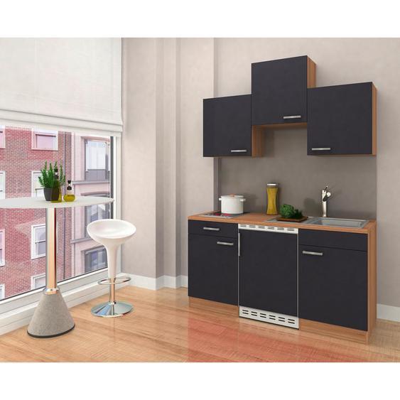 Livetastic Miniküche E-Geräte, Spüle , Grau, Braun , 1 Schubladen , 150x200x60 cm