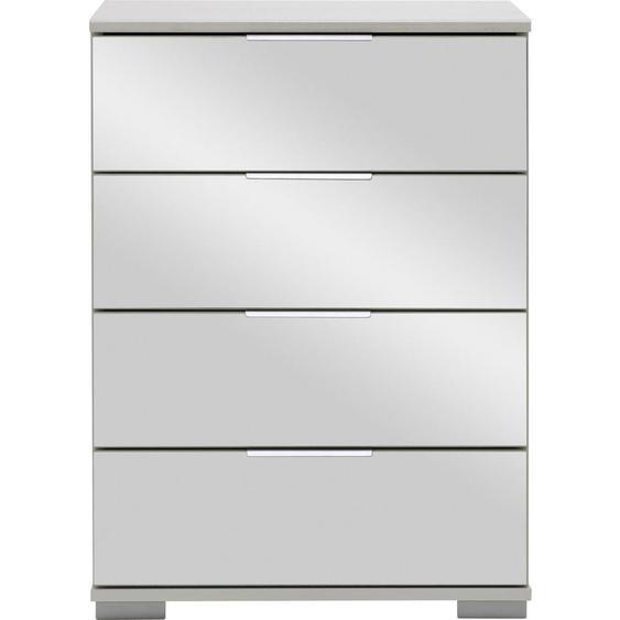 Livetastic Nachtkästchen Weiß , Glas , 4 Schubladen , 52x74x38 cm