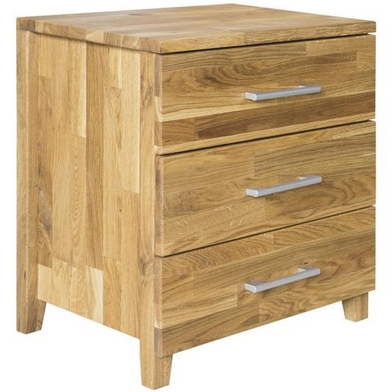 Livetastic Nachtkästchen Wildeiche massiv Braun , Holz , 3 Schubladen , 45x55x42 cm