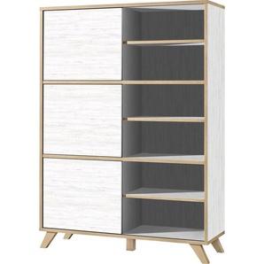 Xora: Regal, Holzwerkstoff, Eiche, Weiß, B/H/T 120 172 40