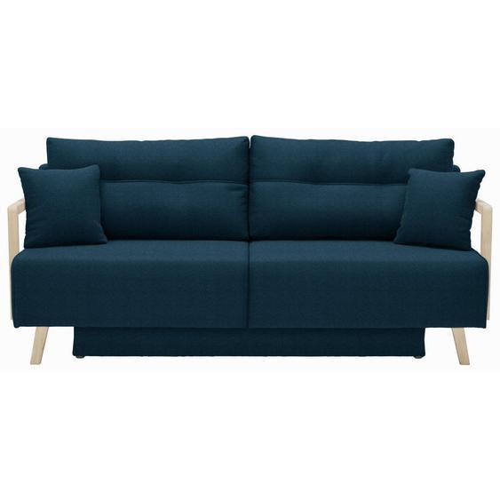 Livetastic Schlafsofa Blau , Textil , Eiche , massiv , Uni , 200x92x95 cm