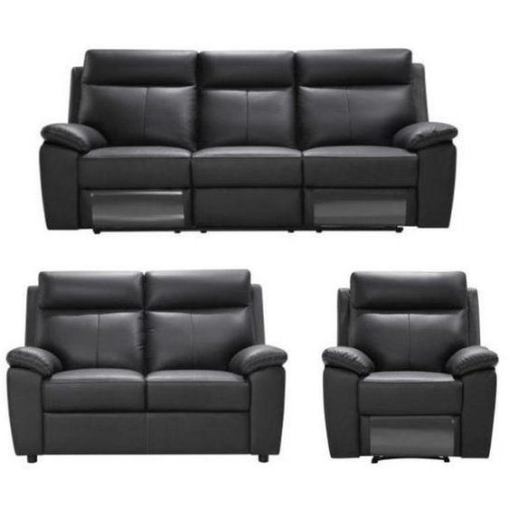 Livetastic Sitzgarnitur Kombination Echtleder/Lederlook Lederlook Schwarz , Textil, Leder , Uni , 199x103x99 cm