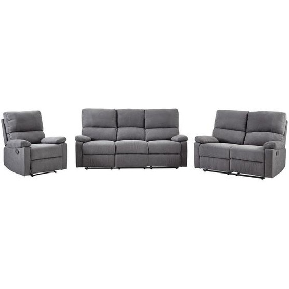 Livetastic Sitzgarnitur Webstoff Grau , Textil , Uni