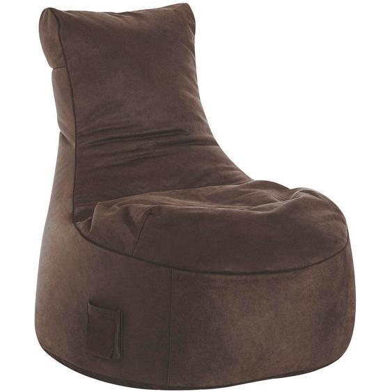 Livetastic Sitzsack Lederlook Braun , Textil , 300 L , 95x90x95 cm