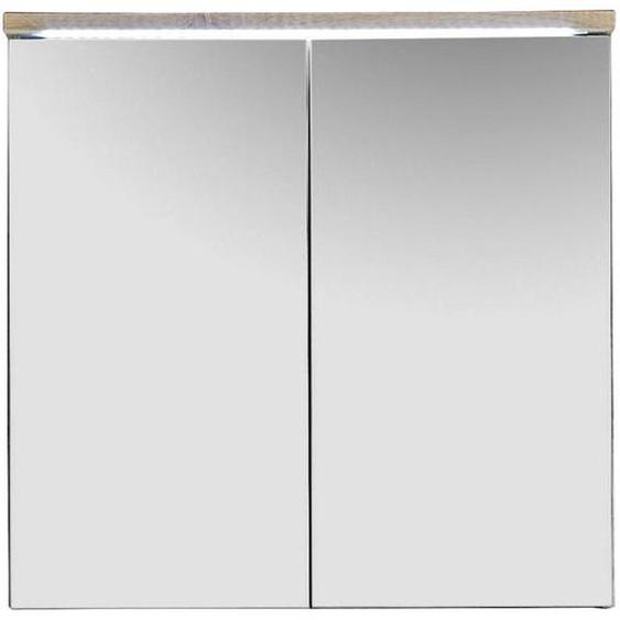 Livetastic Spiegelschrank Braun , Holzwerkstoff , 2 Fächer , 80x77x23 cm