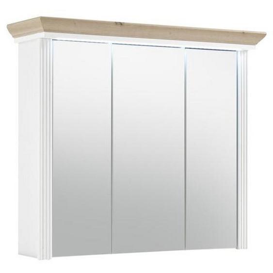 Livetastic Spiegelschrank Braun , Holzwerkstoff , Nachbildung , 3 Fächer , 83x75x25 cm