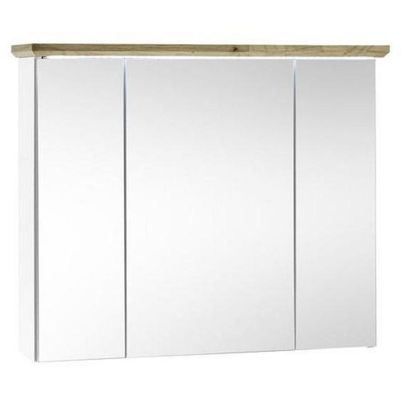 Livetastic Spiegelschrank Weiß, Braun , Holzwerkstoff , Nachbildung , 3 Fächer , 84x70x24 cm