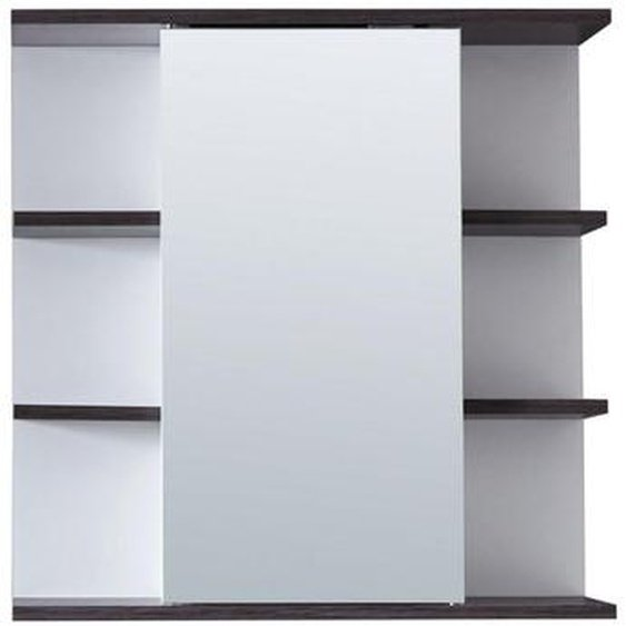 Livetastic Spiegelschrank Weiß , Holzwerkstoff , 2 Fächer , 60x60x20 cm