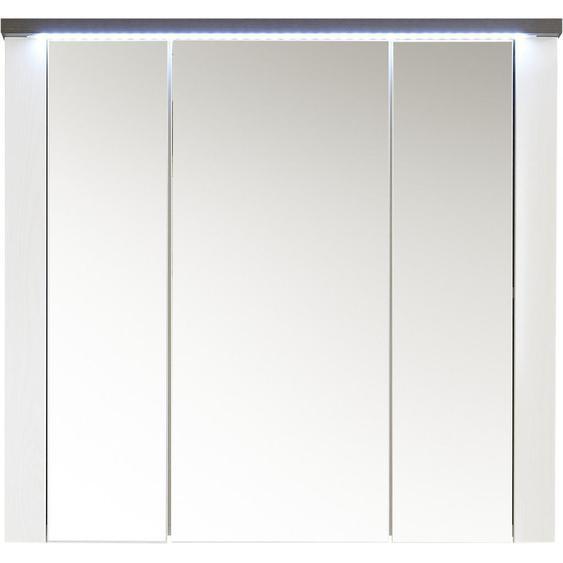 Livetastic Spiegelschrank Weiß , Holzwerkstoff , 3 Fächer , 80x75x20 cm