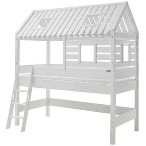 Livetastic Spielbett Buche massiv 90/200 cm Weiß , Holz , 90x200 cm