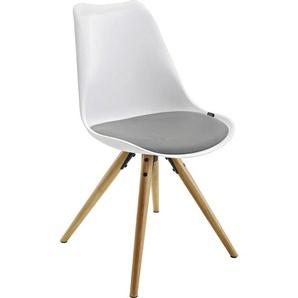 Xora: Stuhl, Grau, Natur, Weiß, B/H/T 48,5 85 55