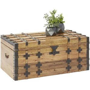 Livetastic Truhe Holz, Metall Mangoholz massiv , Mehrfarbig, Schwarz , 100x45x55 cm