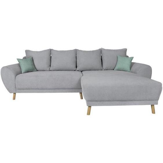 Livetastic Wohnlandschaft Grau Mikrofaser , Textil , Eiche , vollmassiv , 3-Sitzer , 181 cm