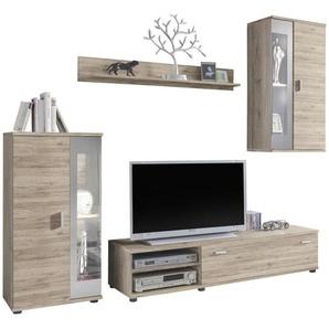 Carryhome: Wohnwand, Holzwerkstoff, Schwarz, Weiß, B/H/T 232 175 42