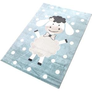 Living Line Kinderteppich Dolly, rechteckig, 12 mm Höhe, Spielteppich, Pastell-Farben, Schaf Motiv, Kinderzimmer B/L: 160 cm x 230 cm, 1 St. blau Kinder Kinderteppiche mit Motiv Teppiche