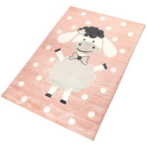 Living Line Kinderteppich Dolly, rechteckig, 12 mm Höhe, Spielteppich, Pastell-Farben, Schaf Motiv, Kinderzimmer B/L: 80 cm x 150 cm, 1 St. rosa Kinder Bunte Kinderteppiche Teppiche