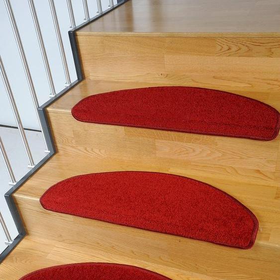 Living Line Stufenmatte Trend, halbrund, 8 mm Höhe, große Farbauswahl, Velours, 15 Stück in einem Set B/L: 24 cm x 65 cm, St. rot Stufenmatten Teppiche