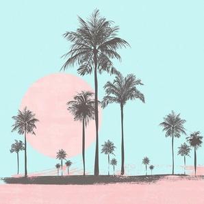 living walls Fototapete »ARTist Miami Beach Sunrise«, (Set, 4 St), Palmen, Vlies, glatt