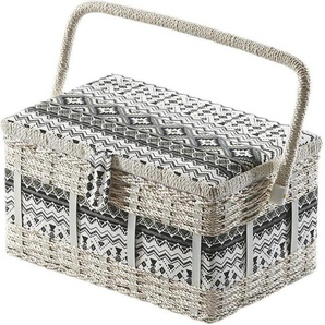 Home affaire Nähkästchen, eckig, aus Kunststoff und Textil mit schwarz weißem Muster
