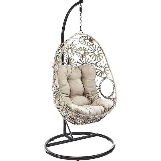 locker Sessel FLOWER mit Kissen, B/H/T: 96 cm x 190 64 grau Hängesessel und Hängematten Gartenmöbel Garten Balkon