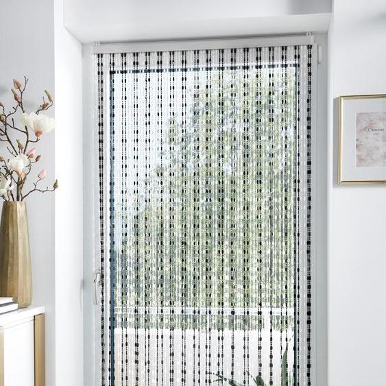locker Türvorhang Pearl, Kunststoff, transparent/schwarz, 72 Stränge 200 cm, Hakenaufhängung, 90 cm bunt Wohnzimmergardinen Gardinen nach Räumen Vorhänge