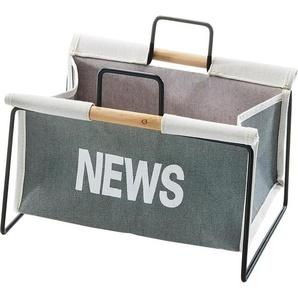 Home affaire Zeitungsständer aus Metall, schwarz und Canvas grau