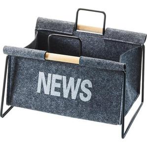 Home affaire Zeitungsständer aus Metall, schwarz und Filz dunkelgrau