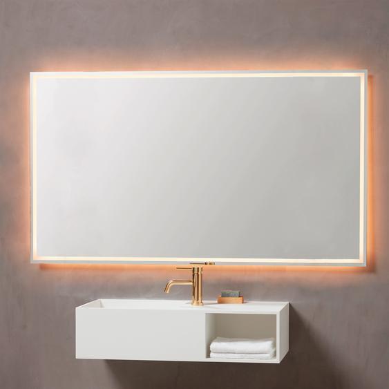 Loevschall LED-Lichtspiegel Rimini B/T: 120 cm x 2,05 silberfarben Badspiegel und Spiegelschränke Badmöbel Badaccessoires SOFORT LIEFERBARE Möbel