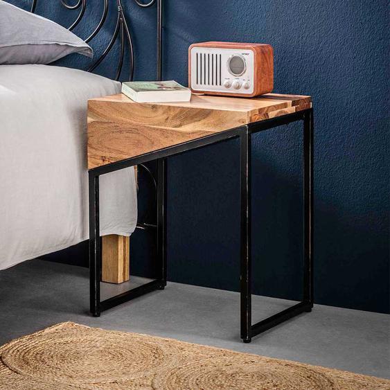 Loft Design Nachttische aus Akazie Massivholz und Metall 45 cm breit (2er Set)