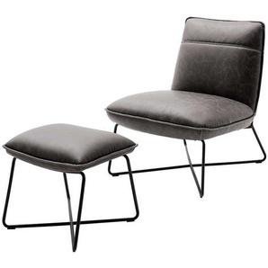 Loft Sessel in Grau Kunstleder Fu�hocker (2-teilig)
