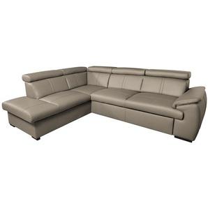loftscape Ecksofa Olival IV 2-Sitzer Schlamm Echtleder 265x82x210 cm mit Schlaffunktion und Bettkasten
