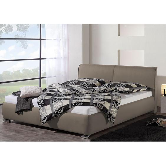loftscape Polsterbett Sigtuna 160x200 cm Strukturstoff Taupe mit Bettkasten Modern