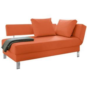 loftscape Recamiere Athmos Orange Kunstleder 186x87x92 cm (BxHxT) mit Schlaffunktion/Bettkasten Modern