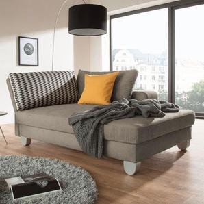 loftscape Recamiere Burnie Steingrau Webstoff 190x86x107 cm (BxHxT) mit Schlaffunktion/Bettkasten Modern