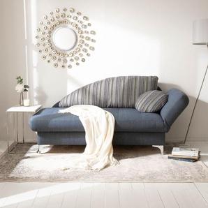loftscape Recamiere Limon Jeansblau Webstoff 182x79x86 cm mit Schlaffunktion und Bettkasten