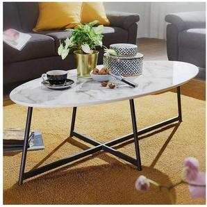Lomadox Couchtisch, Design Wohnzimmertisch Oval 120x60cm mit Marmor Optik weiß mit Metall-Beinen in schwarz B/H/T ca. 60/45/120cm
