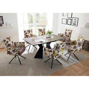 Lomadox - Essplatzgruppe mit Armlehnenstühle 6-8 Personen KAPRUN-119 Retro Design, Ausziehtisch mit Keramikoberfläche taupe, Stühle mit Samtoptik flower/altrosa