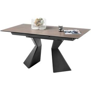 Lomadox - Esstisch erweiterbar KAPRUN-119 Tischplatte mit Keramikoberfläche in taupe, BxHxT: ca. 160-210x76x90 cm