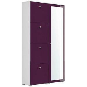 Lomadox Schuhschrank »CHATEAU-02« Garderoben weiß/Brombeer Hochglanz Spiegel B/H/T: 104,8x187x31,6cm