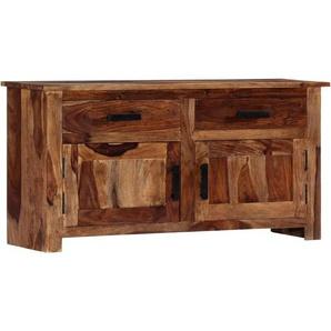Longziming - Sideboard 100 x 30 x 50 cm Massivholz - Braun