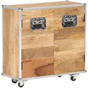 Longziming - Sideboard mit 2 Türen 70x30x69 cm Mango-Massivholz - Braun