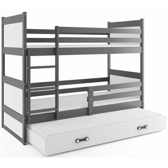 Lora mit Extrabett Etagenbett 80x190 cm Graphit Weiß